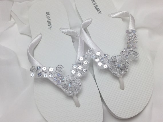 2a2f25ae7d974 White Bridal Flip Flops, Silver Lace Flip Flops, Bridal Sandals, White and  Silver Flip Flops, Beach Wedding Sandals, Wedding Flip Flops,