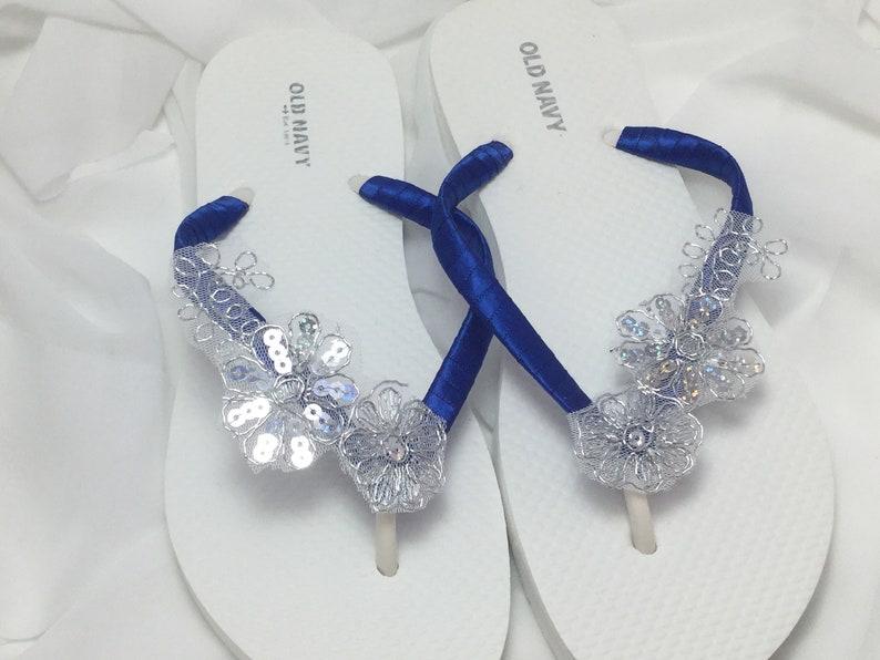 223140e9c517 Royal Blue and Silver Bridal Flip Flops Silver Bridal