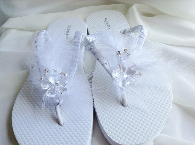 7f53309eb White Bridal Flip Flop Bridal Sandals White Feathers Wedding