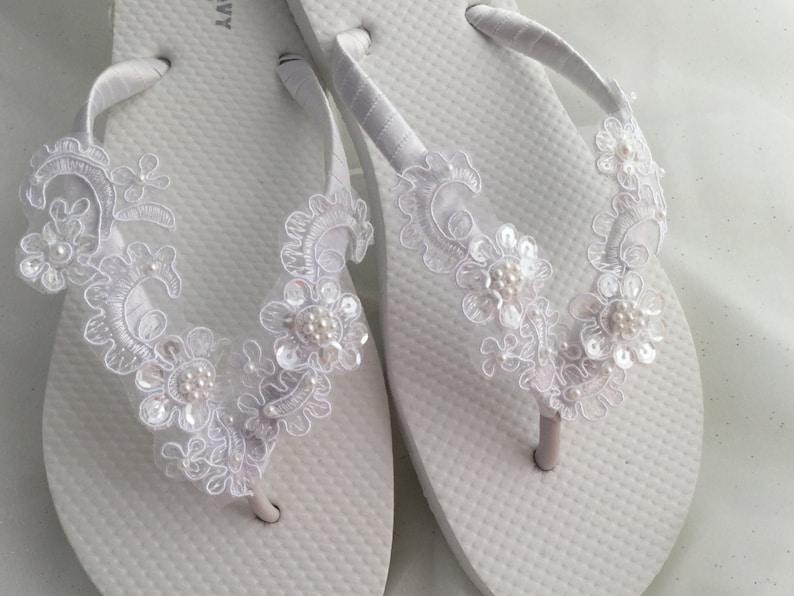 02ea653c3 White Bridal Flip Flop Bridal Sandals Braidsmaid Flip Flops