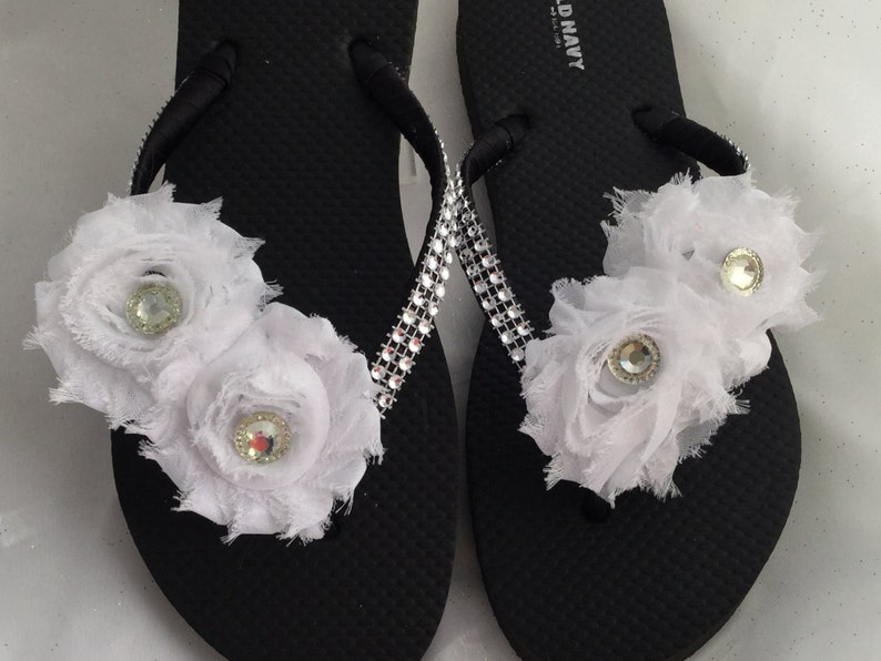 36fdf9c16a40d Black and White Bridal Flip Flop Bridal White Shabby Chic | Etsy