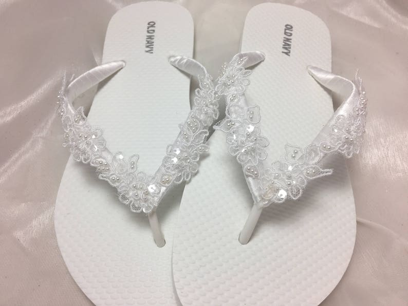 01f5b7c495e5 Wedding White Flip Flops White Beaded Lace Flip Flop