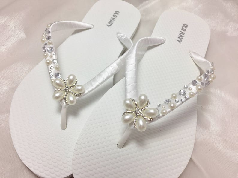c784b4df7b1126 White Pearl Bridal Flip Flop Bridal Sandals Braidsmaid Flip