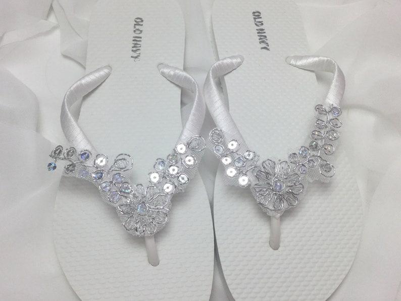 d5e1415fbc5b White Bridal Flip Flops Silver Lace Flip Flops Bridal