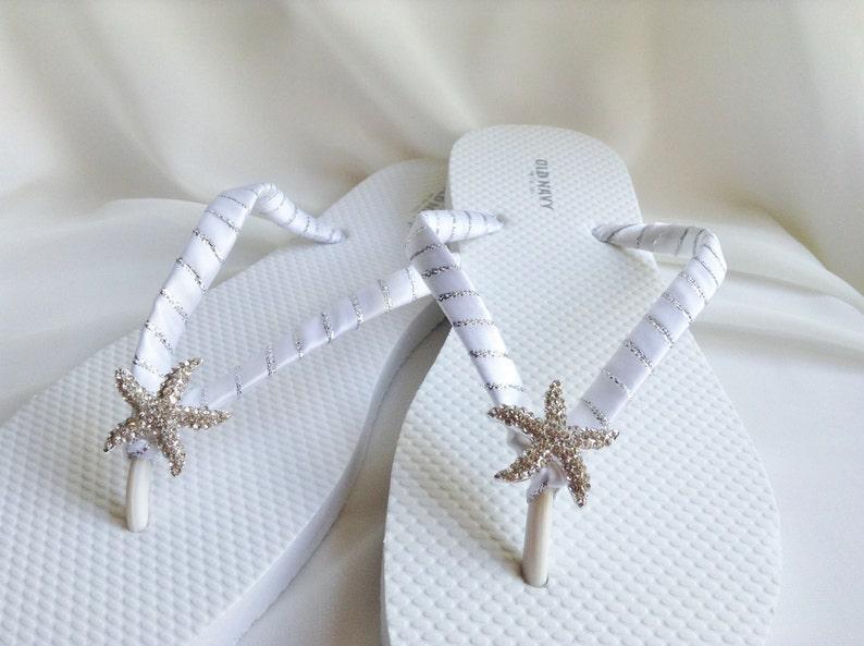 24d8e5b2782f White and Silver Starfish Bridal Flip Flops Rhinestones Flip