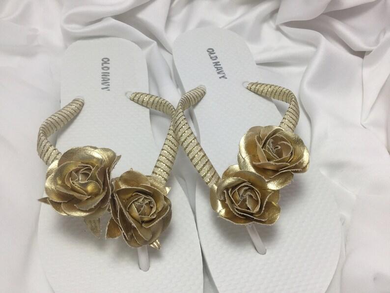 451eecbd5cf81 Gold Roses Bridal Flip Flop, Flower Sandals, Beach Wedding Sandals,  Metallic Gold Wedding Flip Flops, Wedding Destination Sandals