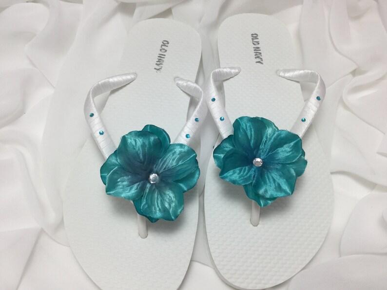 02f561540d8e Teal Blue Bridal Rhinestone Flower Flip Flops Rhinestone