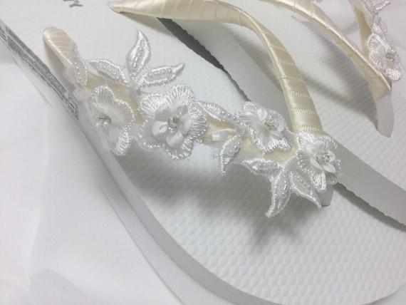 95218b1e57e82a Bridal White Flip Flops Wedding flip flops Ivory 3D Flower