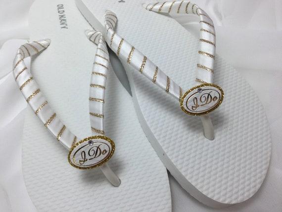 Wedding Flip Flops White And Gold I Do