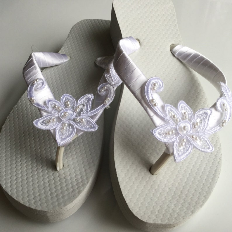 b74c078de0a35 Bridal Lace Wedge Flip Flop, Bridal Sandals, Beach Wedding Sandals, Wedge  Wedding Flip Flops, Wedding Destination Sandals