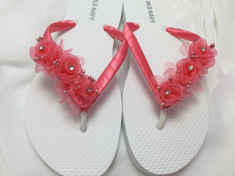 85f7b70b0f73 Bridal Flip Flops Coral Flowers Wedding Sandals Flower Flip