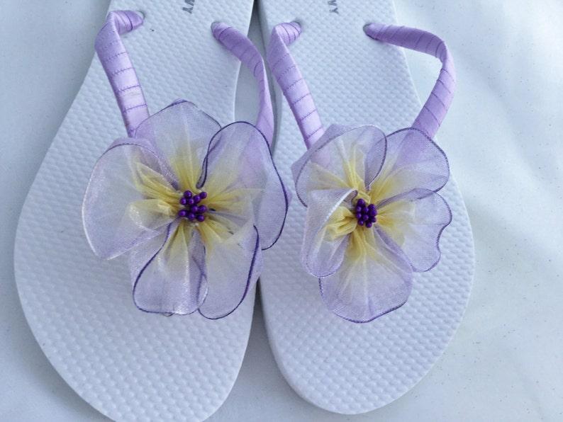 cd6505e47225 Bridal Flip Flops Lavender Organza Flower Flip Flops Beach