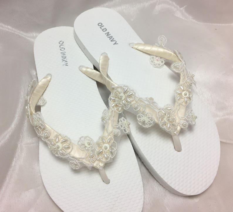 e1b5f26e935a Bridal Flip Flop Bridal Sandals Braidsmaid Flip Flops Beach