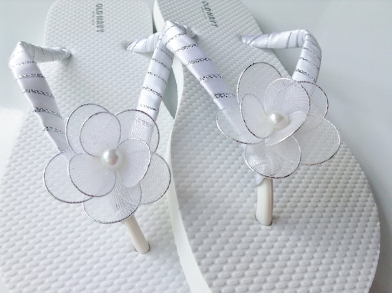 Bridal Flip Flops White Flower Flip Flops White And Silver Etsy