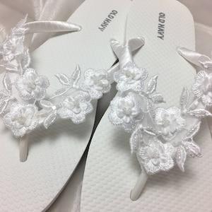 Bridal White Flip Flops Wedding flip
