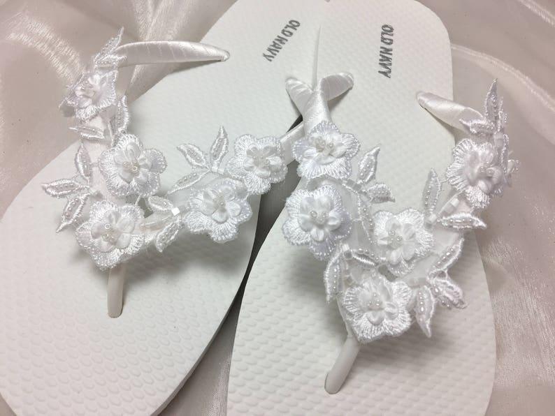 4374d3effa9793 Bridal White Flip Flops Wedding flip flopsWhite 3 D Flower