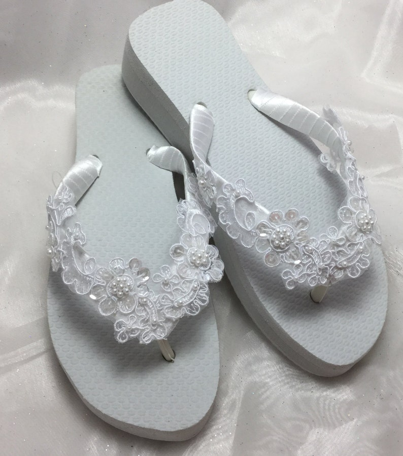3be53df227567 White Bridal Lace Wedge Flip Flop, Bridal Sandals, Beach Wedding Sandals,  Wedge Wedding Flip Flops, Wedding Destination Sandals