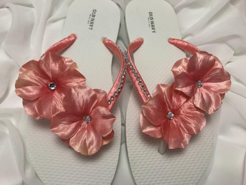 b4a3c55292c4 Coral Bridal Rhinestone Flower Flip Flops Rhinestone Bridal