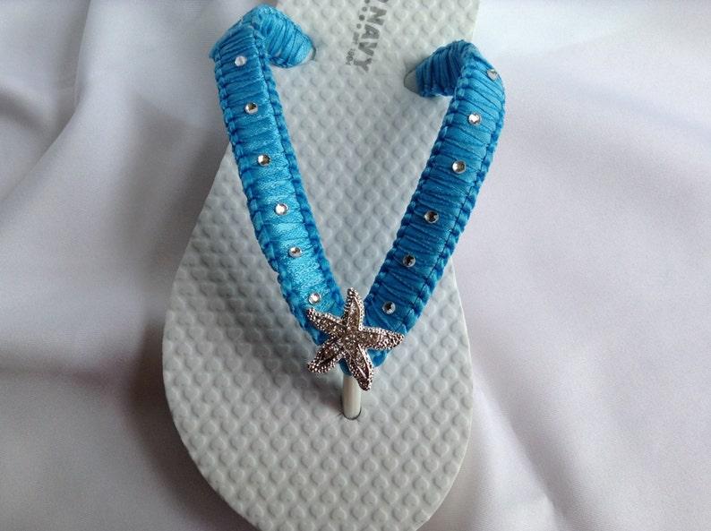 7850073533a9 Flower Girl Starfish Flip Flops Girls Rhinestones Flip Flops