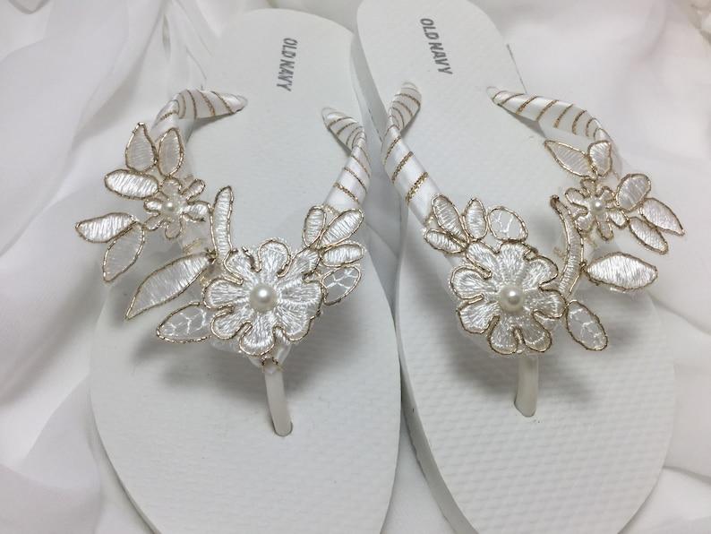 e16394969 Wedding Flip Flops White And Gold Lace Flip Flops Bridal