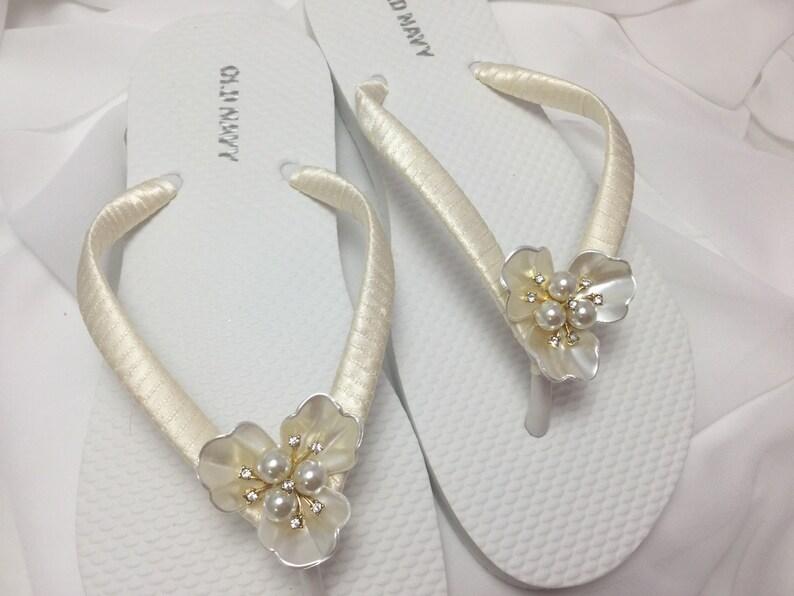 433d5ce5aa6920 Ivory Bridal Pearl Flip Flop Bridal Rhinestones Sandals