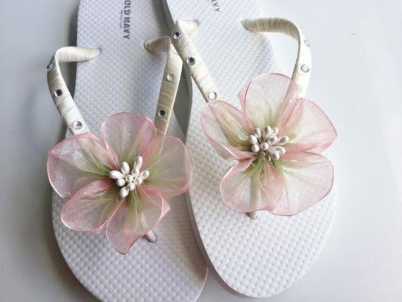 cdcef75d6cebf4 Bridesmaids Flip Flops Pink Organza Flower Bridal Flip Flops