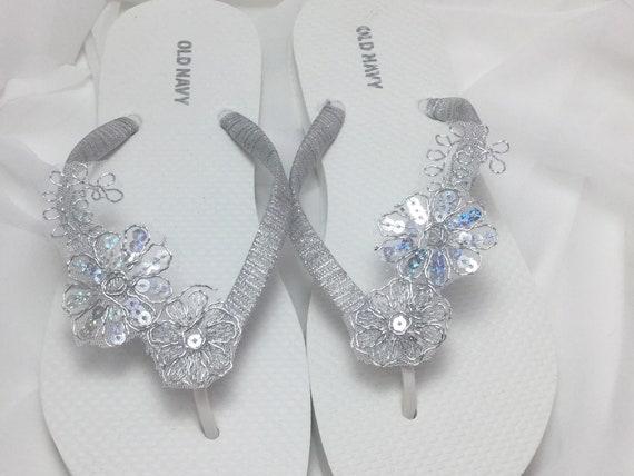 35ad0b6e732b6f Silver Bridal Flip Flops Silver Lace Flip Flops Bridal