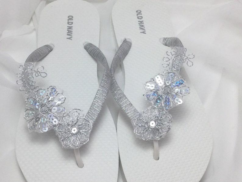 d476d12651e3 Silver Bridal Flip Flops Silver Lace Flip Flops Bridal