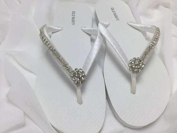 Weiß Braut Flip Flops, Strass Flip Flops, Flip Flops Brautjungfer, Hochzeit  Flip Flops, weiße Braut Flip Flops