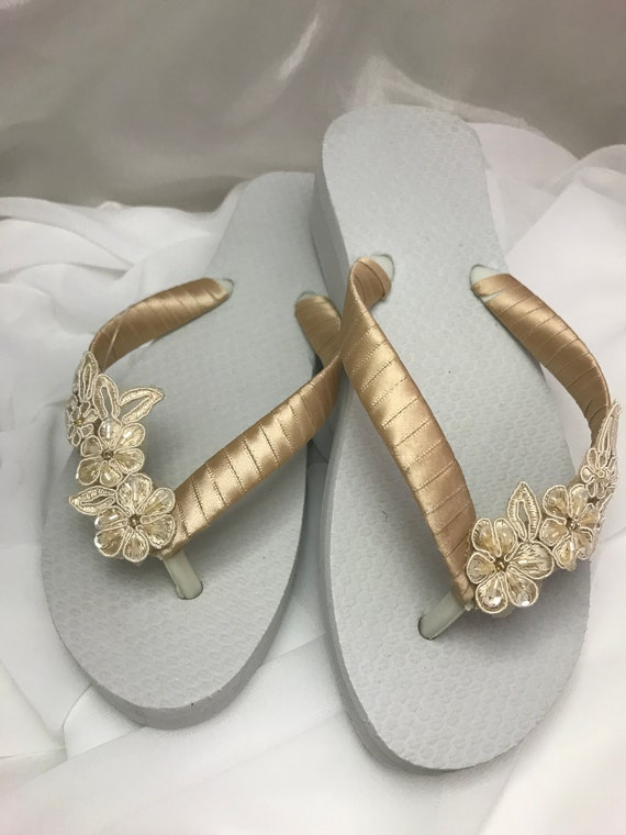 c610e0cef Bridal Champagne Flip Flop Bridal Sandals Braidsmaid Flip