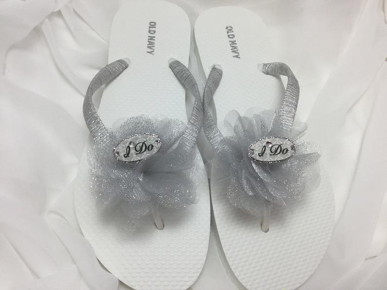 c7a6e702e221 I Do Silver Bridal Flip Flops Silver Flower Flip Flops
