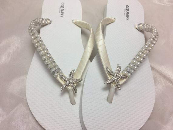 7e9d665af68a4d Bridal Starfish Ivory Flip Flops Wedding flip flops Ivory