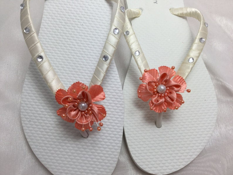 d2f7021feea1 Coral Bridal Flower Flip Flop Bridal Sandals Braidsmaid