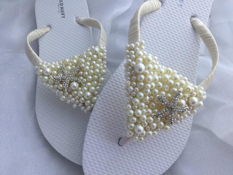 946865bdc2eb3b Starfish Bridal Flip Flops White Wedding Flip Flops Bridal