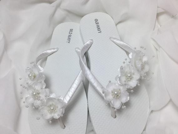 Bridal Flip Flops White Flower Wedding Sandals Flower Flip Etsy