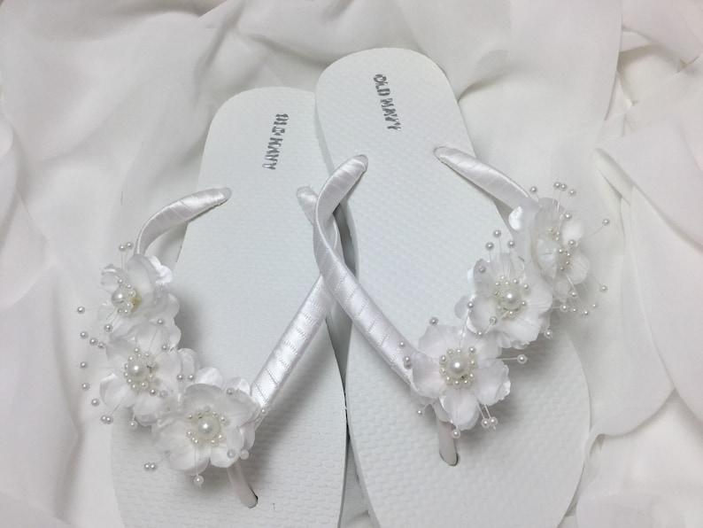 23aefe76160 Bridal Flip Flops White Flower Wedding Sandals Flower Flip