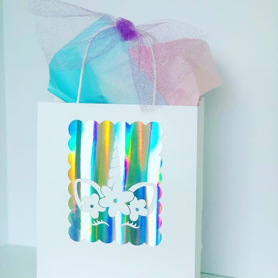 7f9f32d03be00 Unicorn iridescent party favor bags, unicorn gift bags, unicorn party bags,  rainbow iridescent unicorn party white craft bags