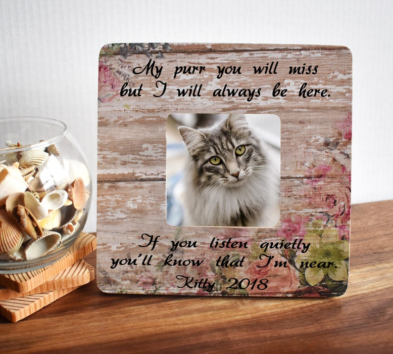 Pet Loss Gift for Best Friend or Family Fits a Small Square Photo Remembrance Gift Cat Memorial Picture Frame