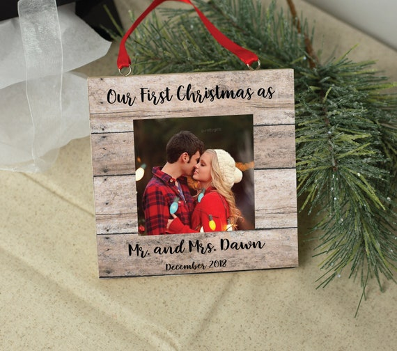 Personalized Christmas Tree Ornament Photo Frame Holiday Etsy