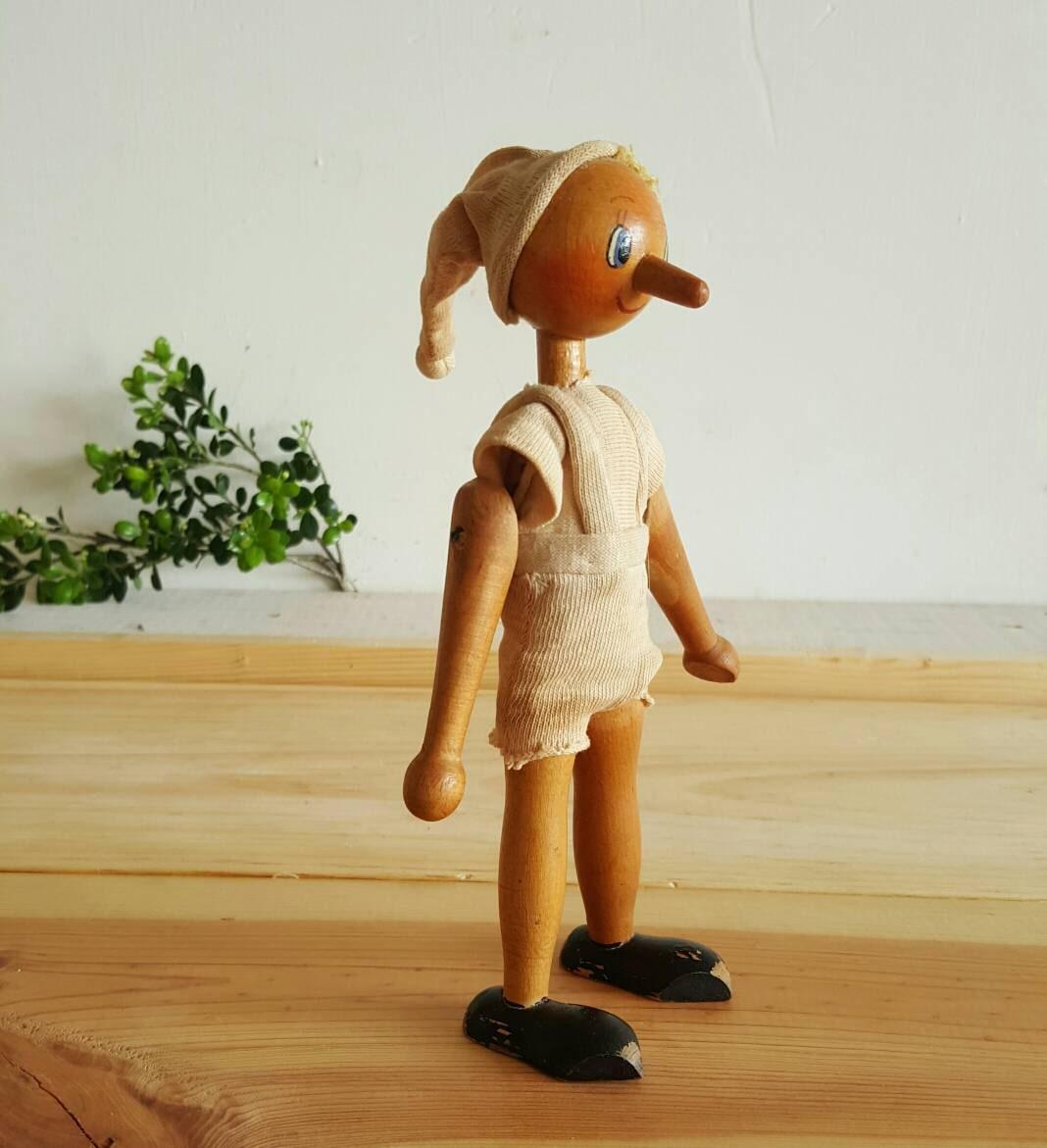 Vintage Polish Wood Pinocchio Jointed Doll Peg Figure Blue