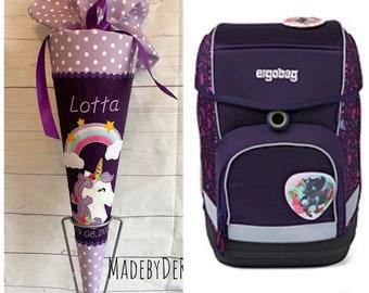 School bag suitable for ergobag horse-flying bear
