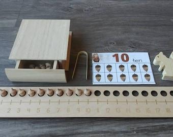 Number Line Montessori Math Waldorf Reggio Emilia Kindergarten Homeschool Common Core STEM Fine Motor