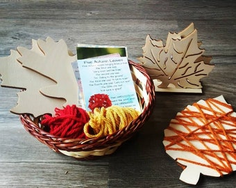 Leaf Wrapping, Yarn Wrapping, Fine Motor, Kindergarten, Waldorf, Montessori