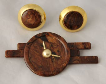 Vintage Modernist Clock Brooch Clip on Earrings Simon Chang Designer Set Demi Parure