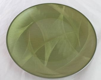 Vintage CATHRINEHOLM Norway Sage Green Plate Dish Feather Pattern Mid Century Danish Modern Mod Stainless Steel