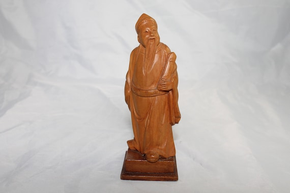 Vintage chinese boxwood carving scholar wood carved figure etsy