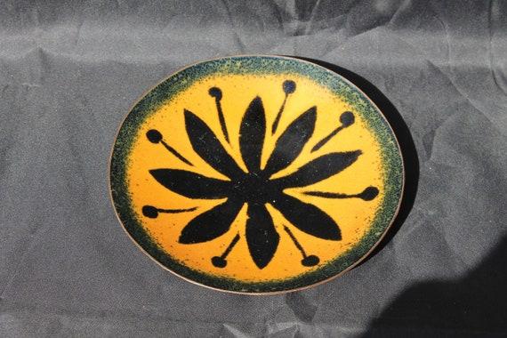 Handmade Enamel on Copper Metal Handpainted Table Bowl Display by EDS