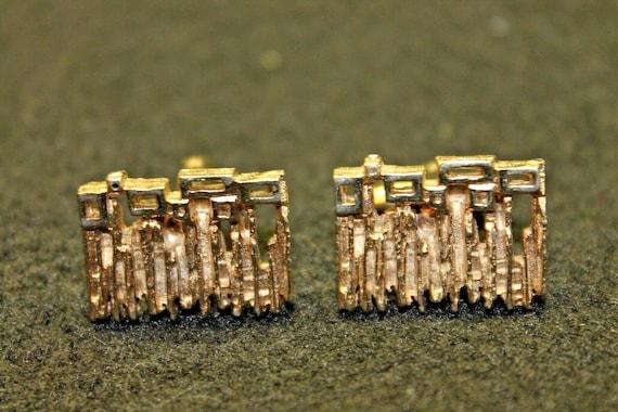 Vintage Gold Tone Modernist Cufflinks