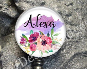 Floral Retractable Badge Holder,Personalized Badge Reel,Monogram Badge Reel,Monogram Badge Holder,Monogram Stethoscope Id Tag -Style 735