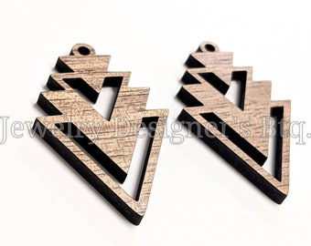Red Wood Triangle Pendants Large 65mm 2 Pendants